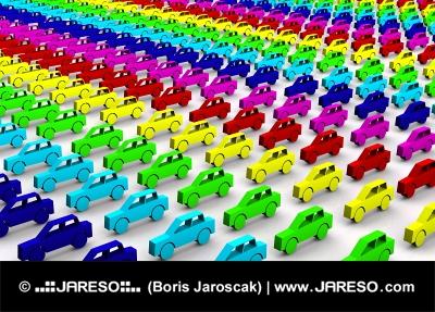 Машины в цветах радуги
