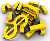 Золотые слитки и золотой знак доллара на белом фоне