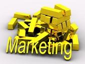 Золотые слитки и золотой текст Marketing