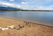 Fishing rods at Liptovska Mara, Slovakia
