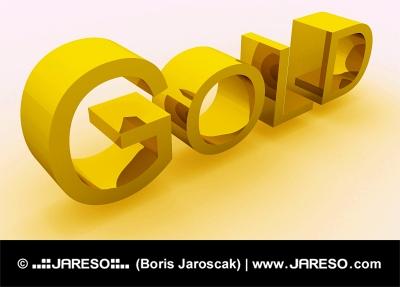 GOLD text med gyllene skugga isolerad på vit bakgrund