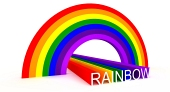 Diagonal bild av symboliska regnbågsfärger och stavning