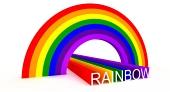 Diagonal bild av symboliska regnb?gsfärger och stavning