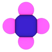 Isolated 3d model of methane (CH4 molecule)