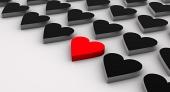 Diagonala svarta hjärtan med en röd hjärta