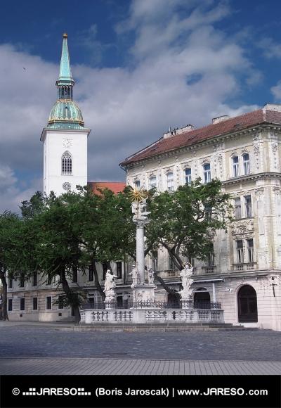 Plague Column och katedralen i Bratislava