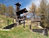 Trä befästning på Havránok hill, Slovakien