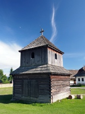 Trä klocktorn i Pribylina, Slovakien