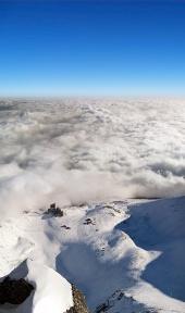 Flygfoto över Lomnické sedlo, Höga Tatra