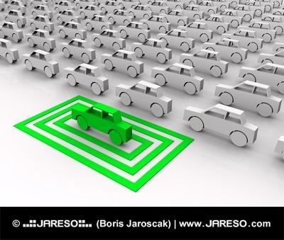 Zelena igrača avto v poudarjena kvadratov