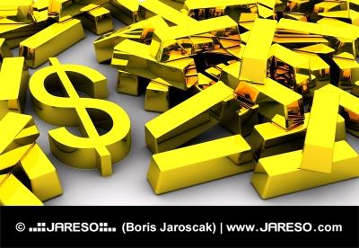 Golden DOLLAR symbol near pile of gold bars