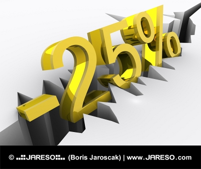 Twenty-five percent discount emphasized by a large crack in the ground