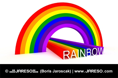 Diagonal view of symbolic rainbow colors and spelling