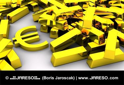 Gold bars and Euro symbol