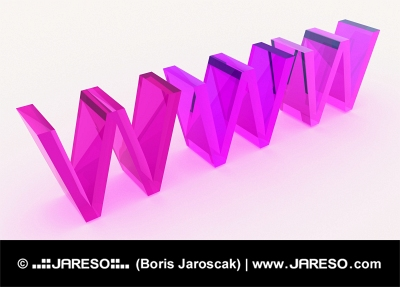 3D WWW text made of glass in pink color scheme