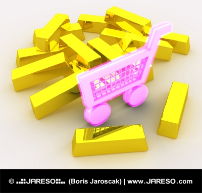 Shopping addiction portrayed by a lot of gold surrounding the pink shopping cart