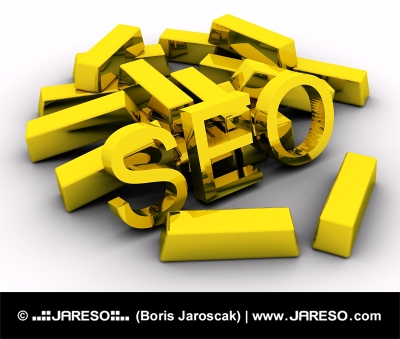 Gold bars and search engine optimization (SEO) letters