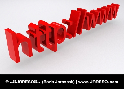 3D HTTP WWW text in red color