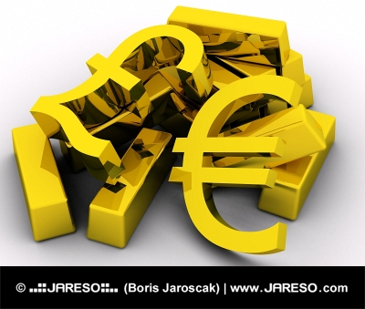 EURO and POUND on gold bars
