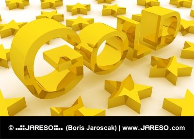 Golden stars near GOLD text