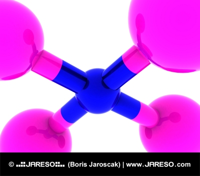 Abstract scientific molecular rendering in pink and blue color