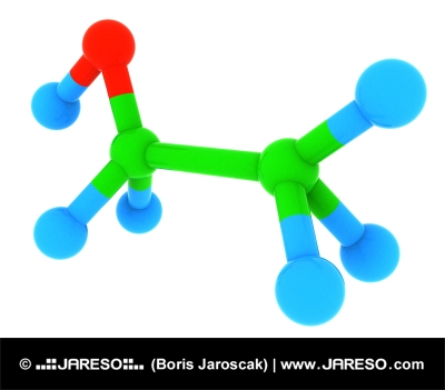 Abstract 3d model of ethanol (alcohol) C2H6O molecule