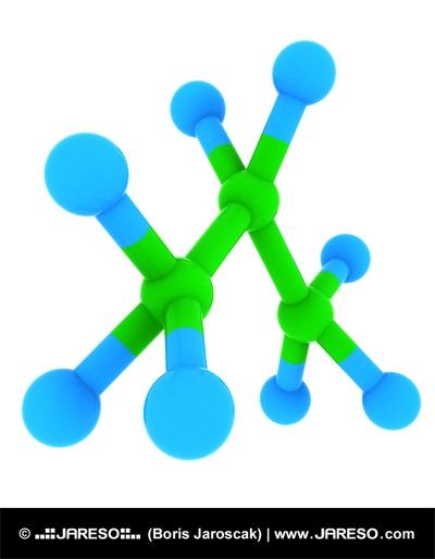 Visualization of propane (C3H8 molecule) 3d model