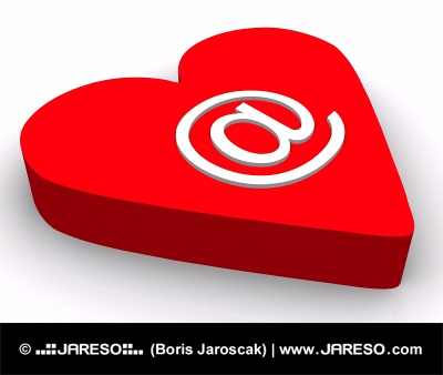 Email symbol and red heart isolated on white background