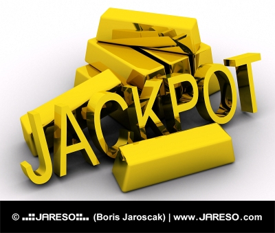 Diagonal view of golden JACKPOT text near pile of gold bars