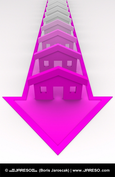 Houses colored to pink on arrow