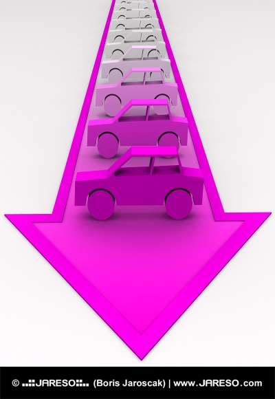 Cars painted from grey to pink on arrow