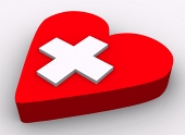 Concept of heart and cross on white background