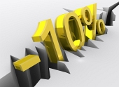 Ten percent discount emphasized by a large crack in the ground