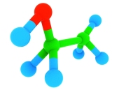 Isolated 3d model of ethanol (alcohol) C2H6O molecule