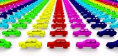 Cars in rainbow color