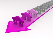 Houses colored to pink on diagonal arrow