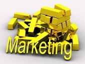 Gold bars and golden MARKETING text