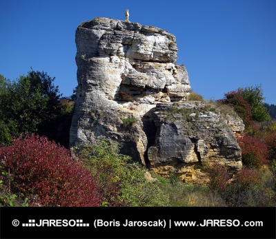 Rock with cross near Besenova, Slovakia