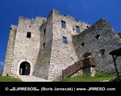 Courtyard of Strecno Castle in summer, Slovakia