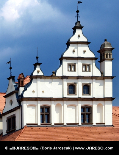Decorated medieval roof on a fairy tale house