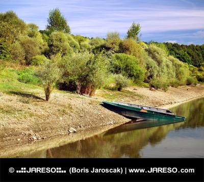 Boats by shore of Liptovska Mara lake, Slovakia