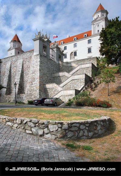 Fortification wall and stairs of Bratislava Castle