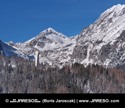 Peaks of High Tatras and Ski jump