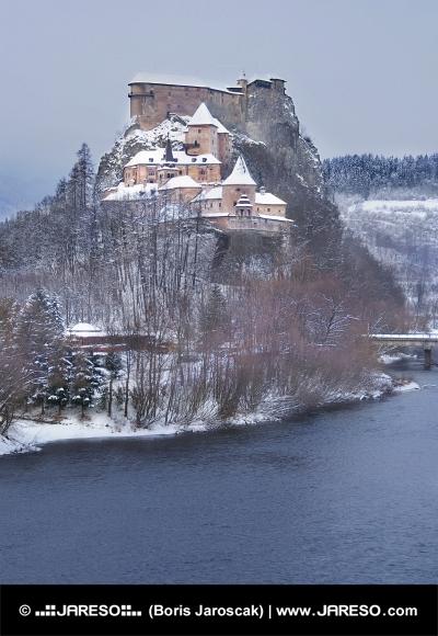 Famous Orava Castle in winter