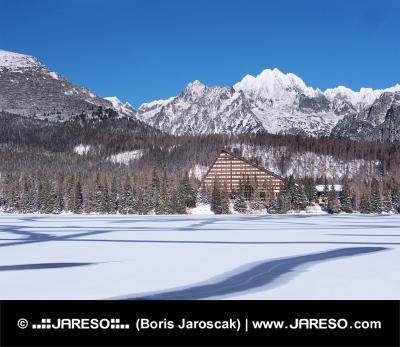 Frozen surface of Strbske Pleso (Tarn)