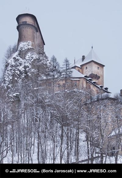 Rare view of Orava Castle in winter