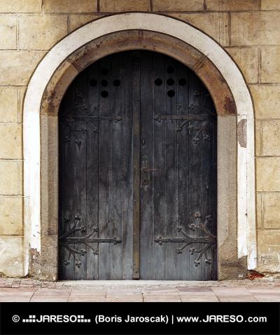 Perpendicular view of medieval door