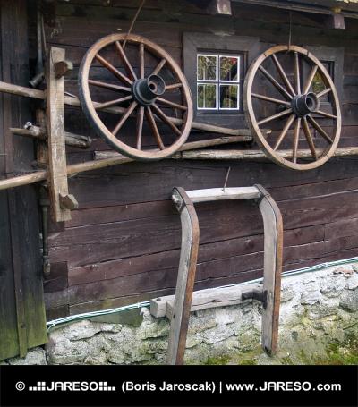 Wall of rural log house