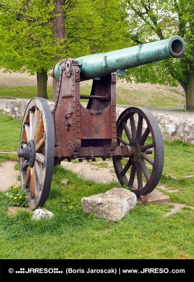 Authentic historical cannon in Trencin, Slovakia