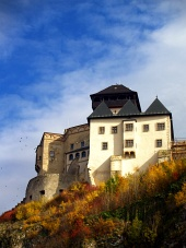 Autumn view of Trencin Castle, Slovakia